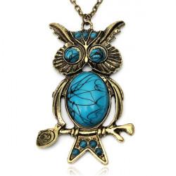 Antique Silver Bronze Blue Stone Owl Pendant Necklace Women Jewelry