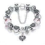 Antique Silver Heart Letter Crystal Glass Beads Charm Bracelet Fine Jewelry