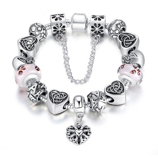 Antique Silver Heart Letter Crystal Glass Beads Charm Bracelet