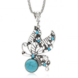 Antique Silver Hollow Crystal Turquoise Butterfly Pendant Necklace