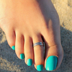 Antique Silver Plated Adjustable Carving Toe Ring Foot Beach Jewelry