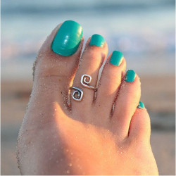 Antique Silver Plated Toe Ring For Women Foot Beach Jewelry