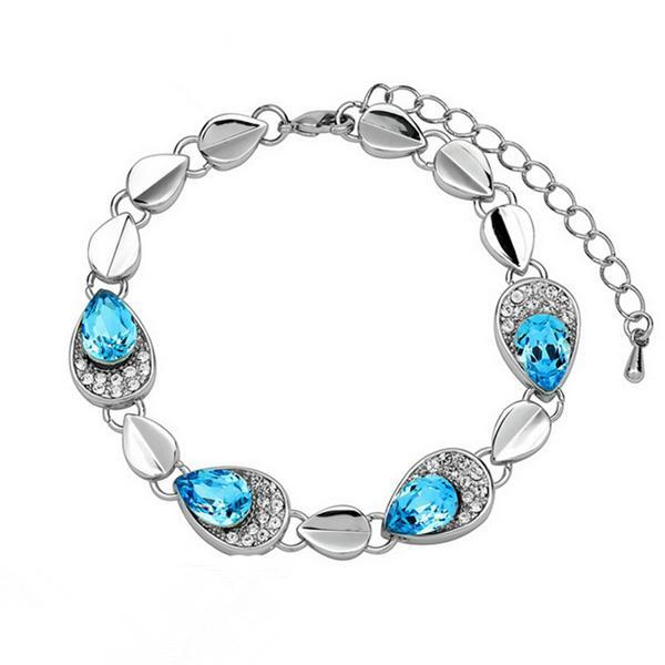Austrian Crystal Angel Tears Bracelet Bangle 18K Gold Platinum Plated Fine Jewelry