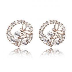 Austrian Crystal Fairy Flower Butterfly Stud Earrings Jewelry