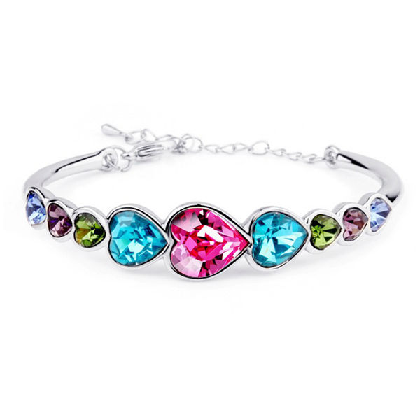 Austrian Crystal Heart Shaped Barcelet Bangle For Women Wedding Fine Jewelry