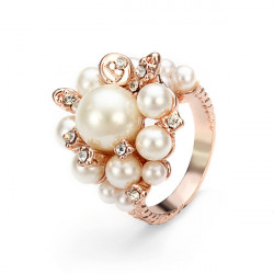 Austrian Crystal Pearl Ring Women Jewelry 18K Rose Gold Plated