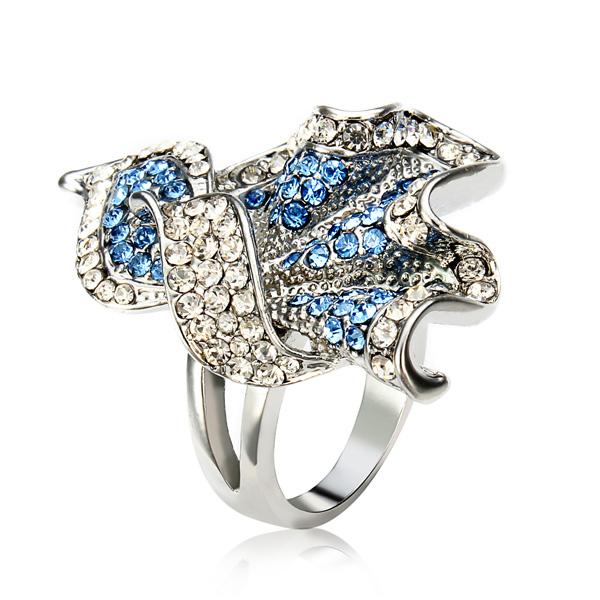 Austrian Crystal Rhinestone Leaves Ring 18K Platinum Plated Women Jewelry