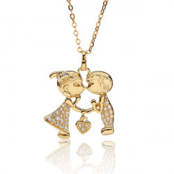 Austrian Crystal Zircon Kissing Lovers Pendant Necklace Gold Silver