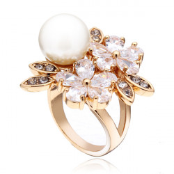 Austrian Crystal Zircon Pearl Flower Ring 18K Gold Plated