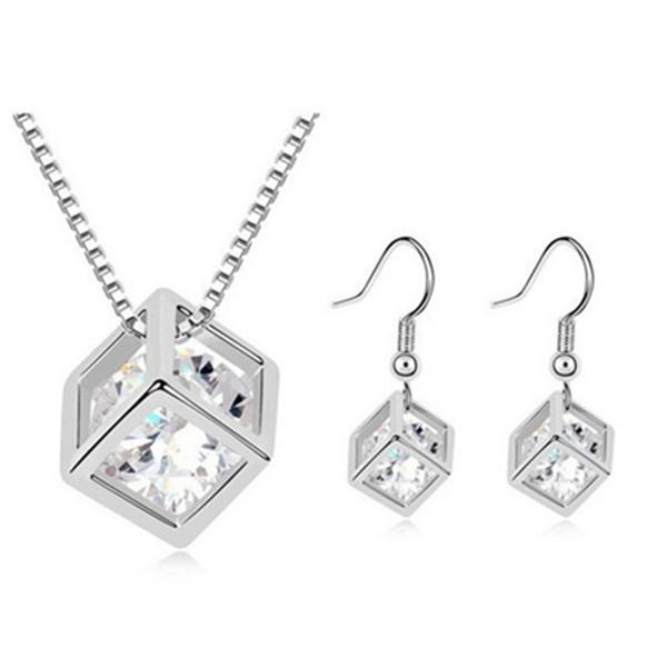 Austrian Crystal Zircon Square Cube Necklace Earrings Jewelry Set Fine Jewelry
