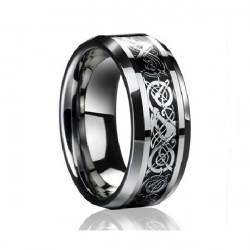 Bahamut Men Tungsten Steel Carve Flower Wide Finger Ring