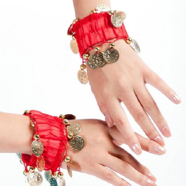 Belly Dance Wrist Ankle Cuffs Golden Coins Beads Bracelets Women Jewelry