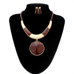 Bib Resin Round Pendant Jewelry Set Statement Necklace Earrings