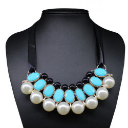 Bib Ribbon Pearl Gem Statement Choker Necklace For Women