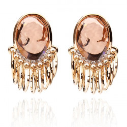 Big Crystal Rhinestone Zircon Earrings Gold Plated Ear Studs