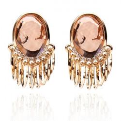 Big Crystal Rhinestone Zircon Earrings Gold Plated Ear Studs