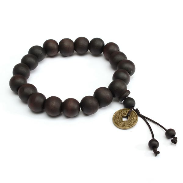 Black Buddhist Tibetan Prayer Wood Beads Coin Bracelet Unisex Women Jewelry