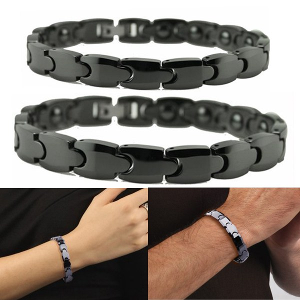 Black Ceramic Titanium Steel Energy Magnetic Stone Couple Bracelet Fine Jewelry