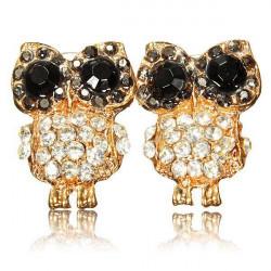 Black Eyes Full Rhinestone Owl Ear Stud Earrings For Women