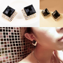 Black Faceted Rhinestone Acrylic Square Ear Stud Earrings Gold Plated