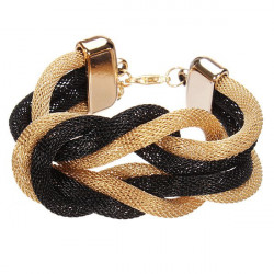 Black Gold Twisty Metal Chain Bowknot Bracelet Women Jewelry