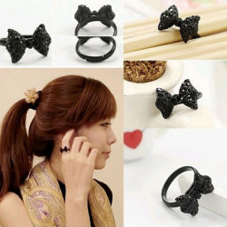 Black Rhinestone Crystal Bowknot Bow Tie Finger Ring Women Jewelry