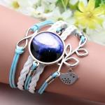 Blue Bird Leaf Infinity Galaxy Time Gem Multilayer Leather Bracelet Women Jewelry