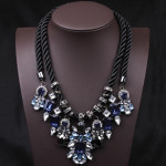 Blue Crystal Pendant Chunky Statement Necklace Hemp Rope Fine Jewelry