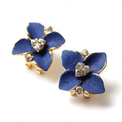 Blue Four Leaf Clover Crystal Ear Clip Gold Plated Stud Earrings