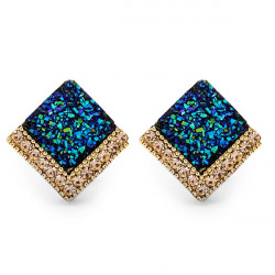 Blue Glitter Crystal Square Stud Earrings For Women Gold Plated