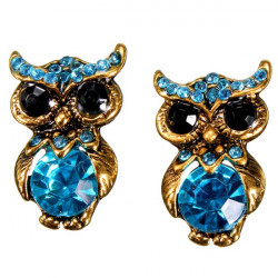 Blue Lovely Crystal Rhinestone Owl Stud Earrings For Women