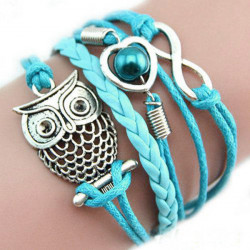 Blue Multilayer Heart Infinity Owl Braided Leather Bracelet