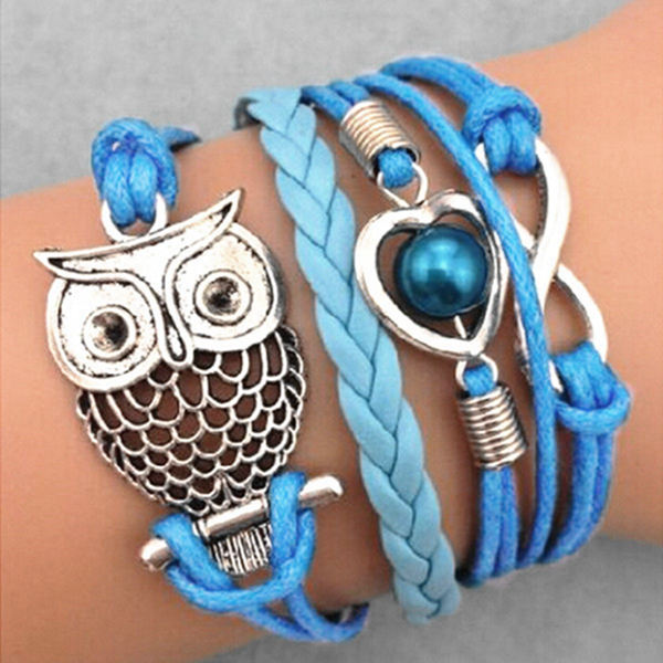 Blue Multilayer Owl Infinity Pearl Braided Leather Bracelet Women Jewelry