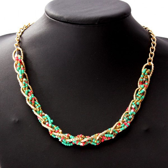 Bohemia Colorful Hand Woven Bib Small Beads Statement Collar Necklace 2021