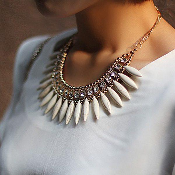 Bohemia Crystal Pendant Chain Choker Statement Necklace For Women Women Jewelry
