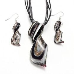 Bohemia Glass Stone Spiral Twisty Pendant Necklace Jewelry Set