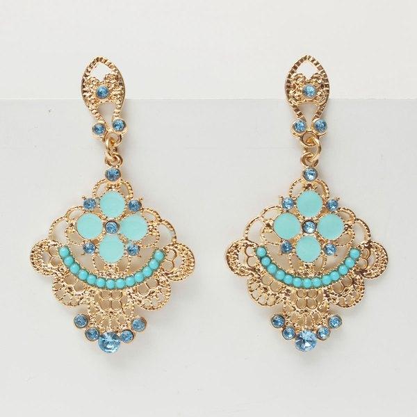 Bohemia Gold Hollow Flower Crystal Dangle Drop Earrings For Women Women Jewelry