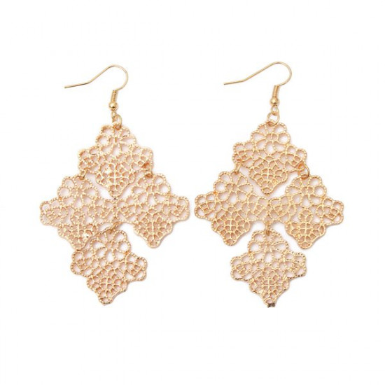 Bohemia Gold Hollow Out Four Leaves Drop Dangle Earrings 2021
