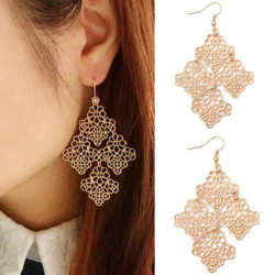 Bohemia Gold Hollow Out Four Leaves Drop Dangle Earrings