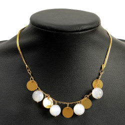 Bohemia Gold Opal Rounded Sequin Pendant Chain Necklace For Women