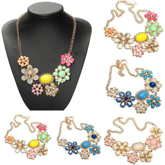 Bohemia Gold Plated Colorful Crystal Flower Statement Necklace 2021