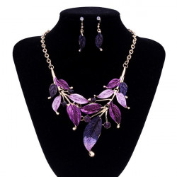 Bohemia Leaves Rhinestone Necklace Earrings Jewelry Set Gold Plated