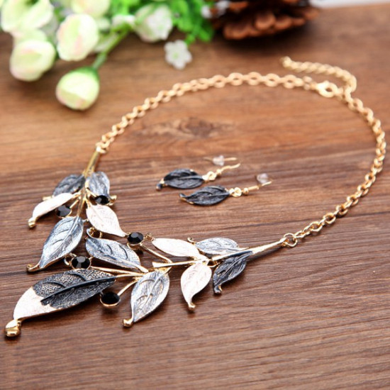 Bohemia Leaves Rhinestone Necklace Earrings Jewelry Set Gold Plated 2021