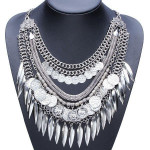 Bohemia Multilayer Coins Leaves Tassel Pendant Statement Necklace Fine Jewelry