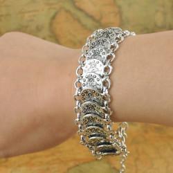 Bohemian Antique Silver Coin Charm Bracelet For Women