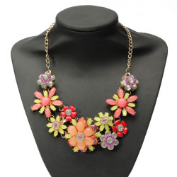 Bohemian Bib Crystal Flower Statement Choker Necklace For Women