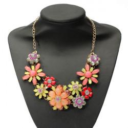 Bohemian Bib Crystal Flower Statement Choker Necklace For Women