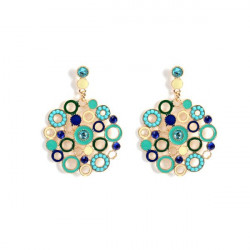 Bohemian Colorful Crystal Beads Circle Big Stud Earrings For Women