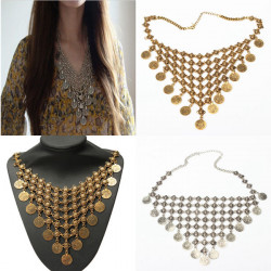 Bohemian Gypsy Antique Coin Tassel Statement Choker Necklace For Women