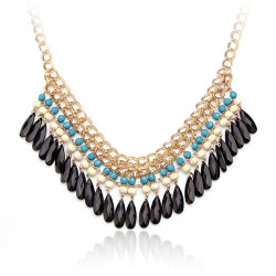 Bohemian Style Multilayer Drop Beads Pendant Tassel Choker Necklace